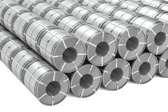 Ensemble de bobines d'acier inoxydable Rolls de tôle d'acier, rendu 3D illustration libre de droits
