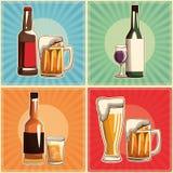 Ensemble de boissons de cru illustration stock