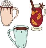Ensemble de boissons d'hiver Cacao et vin chaud illustration libre de droits