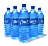 Ensemble de boissons de bicarbonate de soude dans des bouteilles en plastique Photographie stock