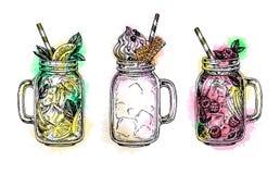 Ensemble de boissons dedans dans des pots de maçon illustration de vecteur