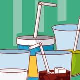 Ensemble de boissons sur des tasses illustration libre de droits