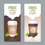 Ensemble de bon de café Tasse gratuite Vecteur illustration libre de droits