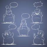 Ensemble de bonhomme de neige de cinq bandes dessinées. Blanc sur un backg bleu illustration de vecteur