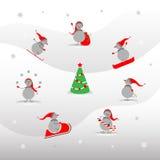 Ensemble de bonhomme de neige mignon illustration de vecteur