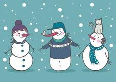Ensemble de 3 bonhomme de neige mignon, partie Image stock