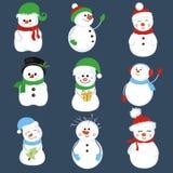 Ensemble de bonhomme de neige de vacances d'hiver illustration libre de droits