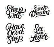 Ensemble de bonnes citations de calligraphie de nigth Rêves doux illustration de vecteur