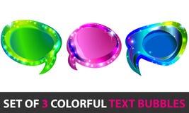 Ensemble de boîtes à textes rougeoyantes colorées Image stock
