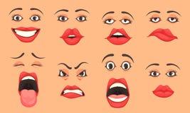 Ensemble de bouche de femmes de bande dessinée illustration stock