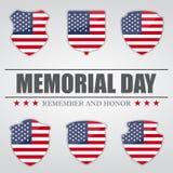 Ensemble de boucliers avec le drapeau des Etats-Unis à l'intérieur pour Memorial Day Illustration de vecteur Photographie stock libre de droits