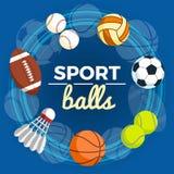 Ensemble de boules colorées de sport à un fond bleu Boules pour le rugby, le volleyball, le basket-ball, le football, le base-bal Photographie stock