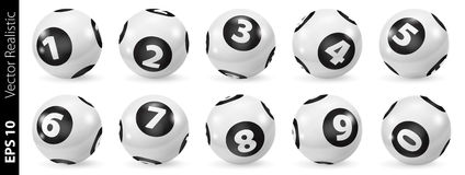 Ensemble de boules noires et blanches de nombre de loterie 0-9 illustration de vecteur