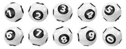 Ensemble de boules noires et blanches de nombre de loterie 0-9 illustration libre de droits