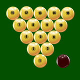 Ensemble de boules pour jouer l'illustration russe de billards Photos libres de droits