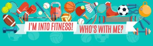 Ensemble de boules de sport et d'articles de jeu à un fond de turquoise Outils sains de mode de vie, éléments Illustration de vec Image stock