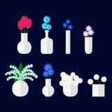 Ensemble de bouqet de fleur dans le vase Illustration de vecteur dans le style plat illustration de vecteur