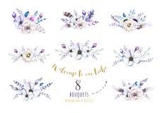 Ensemble de bouquets floraux de vintage d'aquarelle, oiseau avec la plume La BO illustration de vecteur