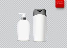 Ensemble de bouteille cosmétique réaliste sur un fond blanc La collection cosmétique de paquet pour la crème, soupes, écume, sham Photos stock