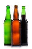 Ensemble de bouteilles à bière d'isolement Photos stock
