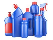 Ensemble de bouteilles bleues avec des détergents Photos libres de droits
