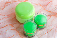 Ensemble de 3 bouteilles crèmes cosmétiques Photos stock
