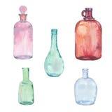 Ensemble de bouteilles d'aquarelle Photo stock