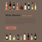 Ensemble de bouteilles de vin dans l'appartement bouteilles de vin plates Photographie stock