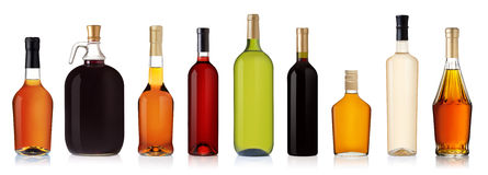 Ensemble de bouteilles de vin et d'eau-de-vie fine Image libre de droits
