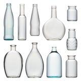 Ensemble de bouteilles en verre transparentes Photographie stock
