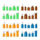 Ensemble de bouteilles médicales de vecteur différent dans le style plat Photographie stock