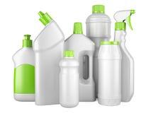 Ensemble de bouteilles propres blanches avec des détergents Image stock