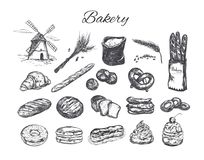 Ensemble de boutique de boulangerie illustration stock