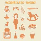 Ensemble de boutique de cadeaux de jouets d'enfants, illustration de vecteur Photo libre de droits
