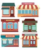 Ensemble de boutiques Une collection de petite bande dessinée fait des emplettes avec un signe Compteurs commerciaux stylisés Ill Photo stock