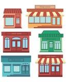 Ensemble de boutiques Une collection de petite bande dessinée fait des emplettes avec un signe Compteurs commerciaux stylisés Ill Photo libre de droits