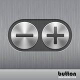 Ensemble de bouton rond en métal avec la texture balayée et illustration de plus et de minus pour le bruit d'augmentation ou de d Photos stock