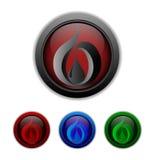 Ensemble de boutons avec le symbole d'une baisse à l'intérieur. Illustration de vecteur Photographie stock libre de droits