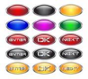 Ensemble de boutons blanc métalliques en verre de Web Photo stock