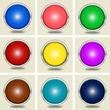 Ensemble de boutons brillants Images stock