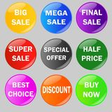 Ensemble de boutons brillants de vente illustration de vecteur