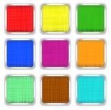 Ensemble de boutons carrés multicolores Images libres de droits