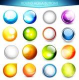 Ensemble de boutons colorés d'aqua Photos libres de droits