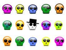 Ensemble de boutons colorés, de symboles ou de signes du crâne 3d Photo libre de droits