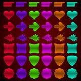 Ensemble de boutons colorés de Web de différentes formes. Photographie stock libre de droits