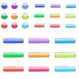 Ensemble de boutons colorés lumineux Photo stock