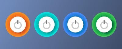 Ensemble de boutons colorés de puissance illustration de vecteur