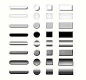 Ensemble de boutons de Web en métal Photographie stock