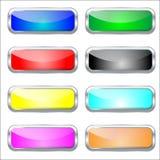 Ensemble de boutons en verre brillants de Web de colorfull Photo stock