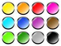 Ensemble de boutons en verre en métal Images stock